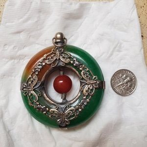 Jade and sterling pendant/fob